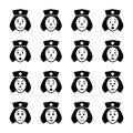 Nurse face emoticon icons set