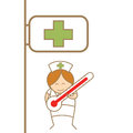 Nurse holding thermometer in front of hospital Stock Image