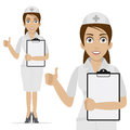 Nurse holds form and shows thumb up illustration format eps Royalty Free Stock Photography