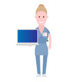 Nurse holds laptop illustration of a on a white background Royalty Free Stock Photography