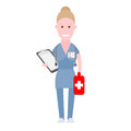 Nurse holds medical bag illustration of a on a white background Stock Photo