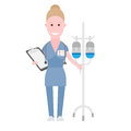 Nurse near the drip illustration of a on a white background Royalty Free Stock Photography