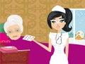 Nurse takes care of a sick elderly lady