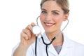 Nurse using stethoscope Royalty Free Stock Photo