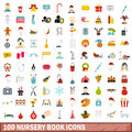 100 nursery book icons set, flat style Royalty Free Stock Photo