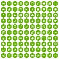 100 nursery icons hexagon green