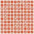 100 nursery icons set grunge orange Royalty Free Stock Photo