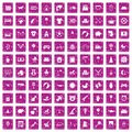 100 nursery icons set grunge pink Royalty Free Stock Photo