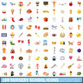 100 nursery school icons set, cartoon style Royalty Free Stock Photo