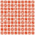 100 nursery school icons set grunge orange Royalty Free Stock Photo