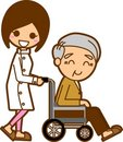Nurses and elderly men Royalty Free Stock Images