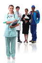 Nursestood other professionals Stock Image