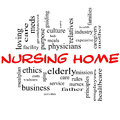 Nursing Home Word Cloud Concept in red and black Royalty Free Stock Photography
