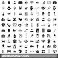 100 nursing icons set, simple style