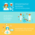 Nursing medical flat banners template set vector infographics