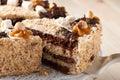 Nut cake close up Royalty Free Stock Photo