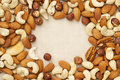 Nut mix on canvas Royalty Free Stock Photography