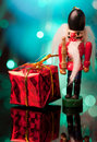 Nutcracker and giftbox Stock Photo
