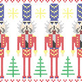 Nutcracker soldiers seamless Christmas Nordic pattern in cross stitch Royalty Free Stock Photo