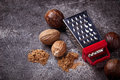 Nutmeg and grater Royalty Free Stock Photo