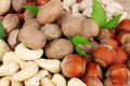 Nutmeg, peanuts and almonds Stock Images