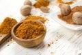 Nutmeg Spice Heaps Royalty Free Stock Photo