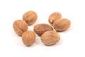 Nutmeg on white background Stock Images