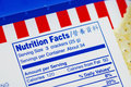 Nutrient Facts of a box of cookies Stock Photo