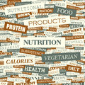 Nutrition background concept wordcloud illustration print concept word cloud graphic collage Stock Photos