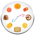 Nutrition clock concept health illustration Royalty Free Stock Photo