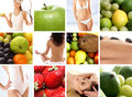 A nutrition collage with a lot of tasty fruits Royalty Free Stock Photo