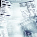 Nutrition facts information on assorted food labels Royalty Free Stock Images