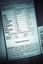 Nutrition facts information on food label Royalty Free Stock Images