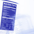 Nutrition facts information on food labels Stock Photography