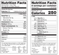 Nutrition facts labels two versions of a label the old and new version Stock Images