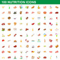 100 nutrition icons set, cartoon style