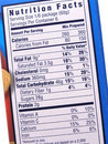 Nutrition label on blue Stock Photos