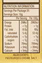 Nutritional Information Label Stock Photography