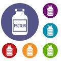 Nutritional supplement for athletes icons set
