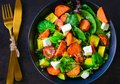 Nutritious Vegetarian salad with feta cheese Royalty Free Stock Photo