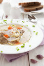 Nutritious meat soup with pasta and carrots closeup food Royalty Free Stock Photos