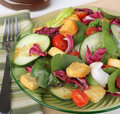 Nutritious salad with baby spinach cucumbers tomatoes and croutons Stock Images