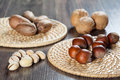 Nuts assortment on wooden table Stock Images