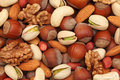Nuts background natural made from different kinds of Royalty Free Stock Photography