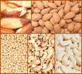 Nuts backgrounds collage Royalty Free Stock Image
