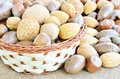 Nuts in the basket mixed Royalty Free Stock Photos