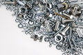Nuts and bolts chrome closeup Royalty Free Stock Photography