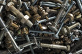 Nuts bolts closeup of steel and background Royalty Free Stock Images