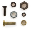 Nuts bolts and screw on white metal tool isolated background Stock Image