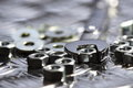 Nuts bolts washers spanner A Royalty Free Stock Photo
